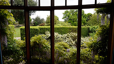 view of the gardens from inside how hill