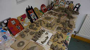 clay creations made in workshops at how hill