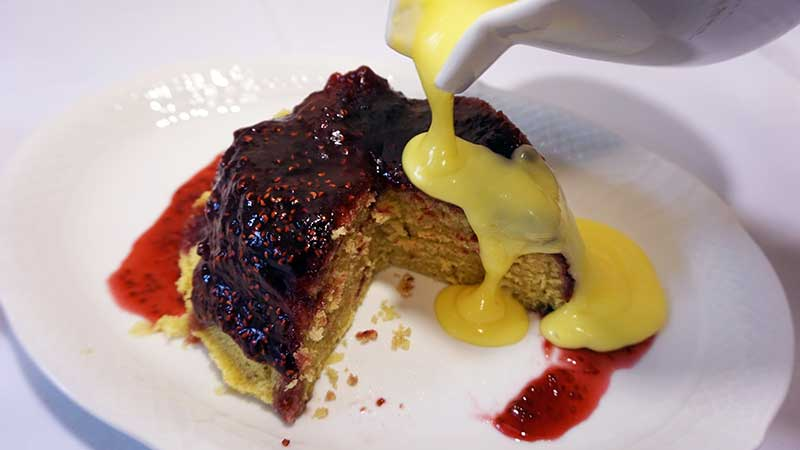 A lovely jam steamed pudding with custard